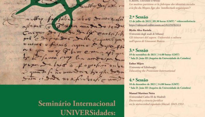 """Videoconferência """"Gli Itinerari Del Sapere. Università E Cultura Nell'opera Di Giovanni Botero"""" – Agenda UC"""