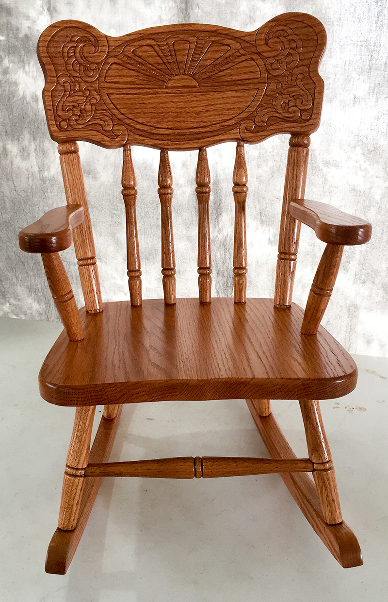 Amish Rocking Chair Amish Kids Furniture Rocking Chair Oak Sunburst Back Mx103 Stain