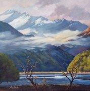 """""""Matukituki River & Mount Aspiring"""" Oil on canvas $1,400"""