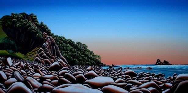 Boulder Beach Oil on canvas (1200 x 600 mm) Donna Massey $2000