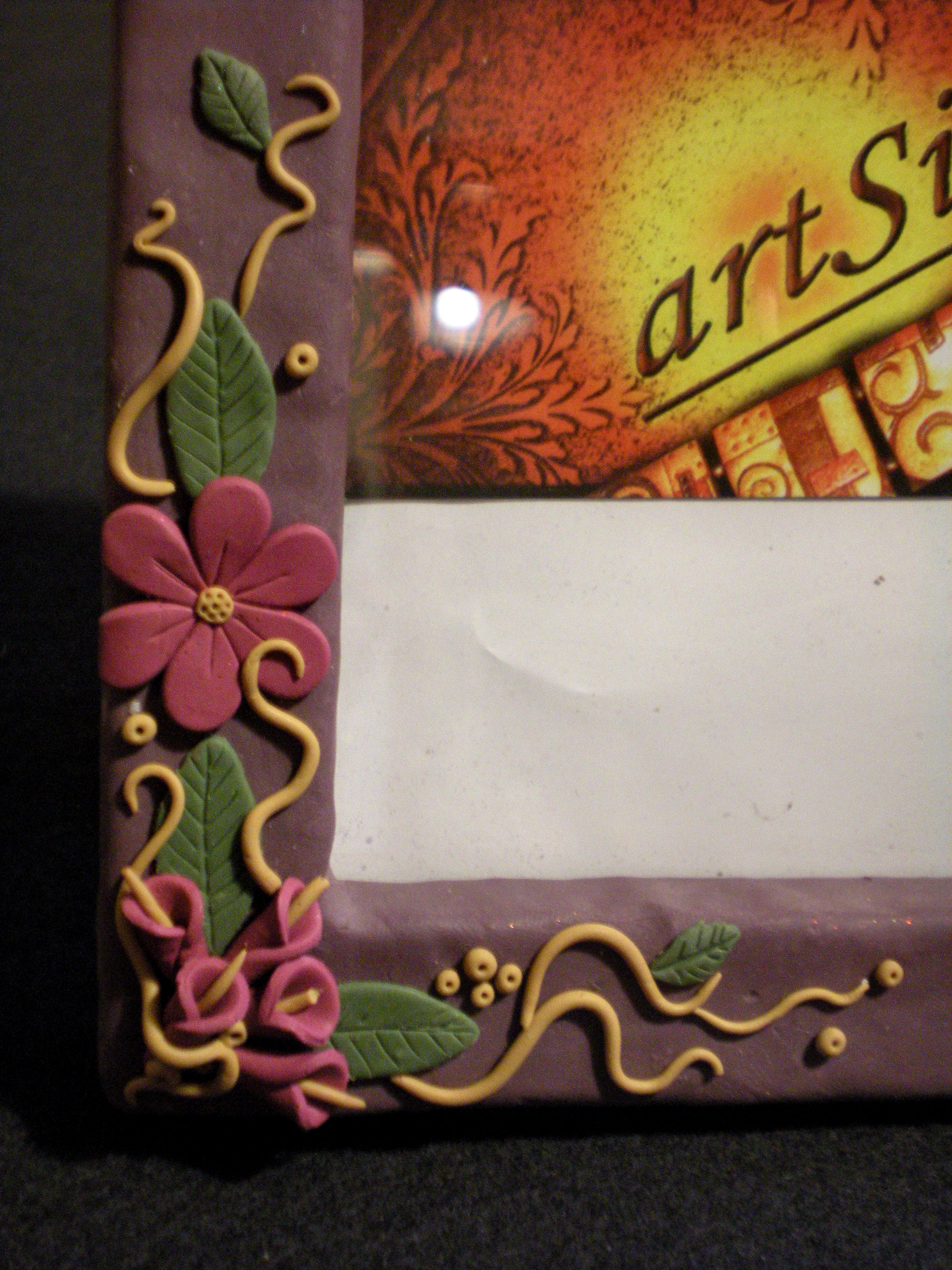 Handmade polymer clay covered photo frame garden flowers