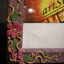 Wall Frames For Living Room Small Design Plans Handmade Polymer Clay Covered Photo Frame- Garden Flowers ...