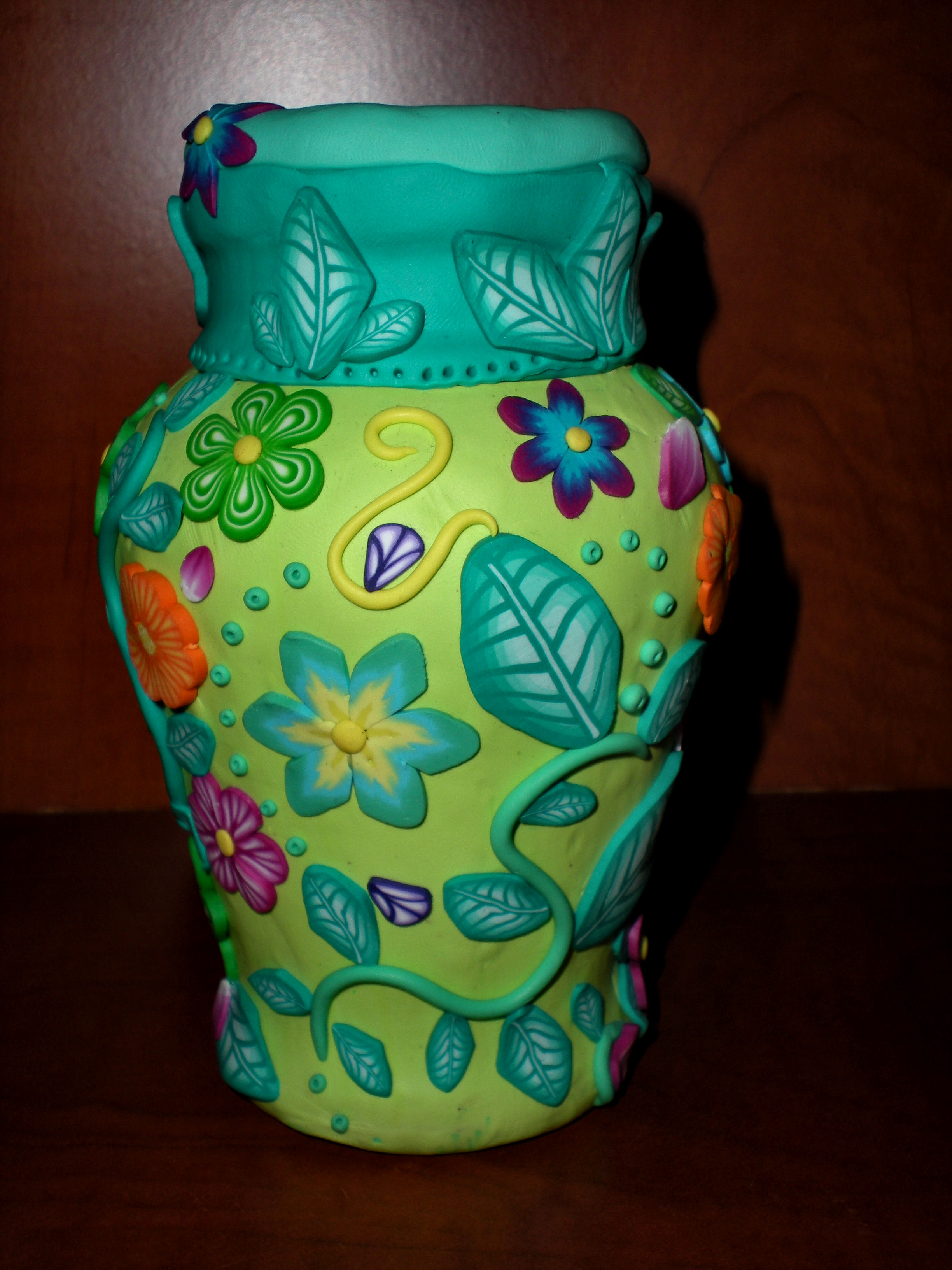 Pretty Living Room Handmade Polymer Clay Covered Vase | Mini Art Gallery