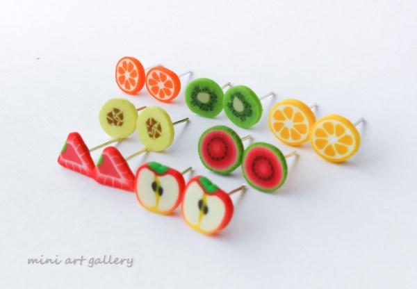 Fruit Studs Post Earrings Fimo Canes Banana