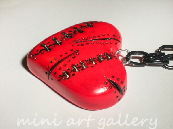 Red Heart Necklace Stitched Broken Polymer Clay