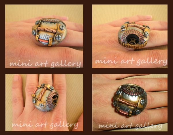 Ooak Polymer Clay Steampunk Dome Ring Gears Cogs