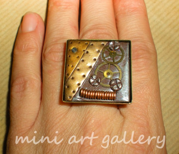 Ooak Polymer Clay Steampunk Square Ring Gears Cogs