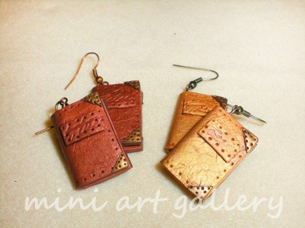 Handmade Steampunk Books Earrings Of Polymer Clay Aged