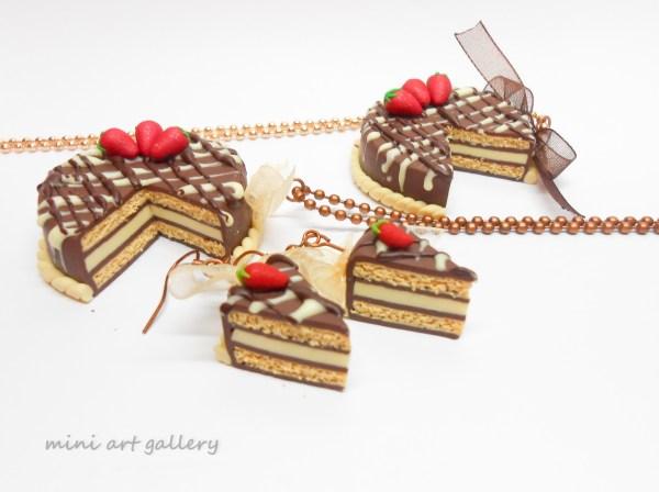 Chocolate Cake Necklace Strawberries Mini Food Jewelry