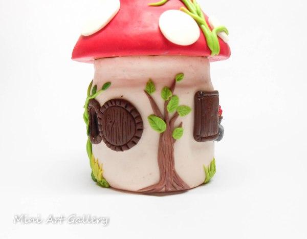 Mushroom House Jar Polymer Clay Sculpture Mini Art
