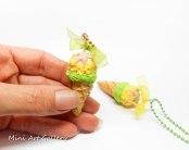 Ice-cream necklace / kawaii miniature food jewelry / fimo mini food sundae / handmade polymer clay pendant