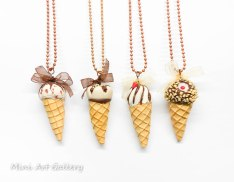 ice-cream necklace / sundae cone ice cream / chocolate - vanilla / kawaii miniature food jewelry fimo mini food / handmade polymer clay pendant