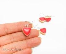 Cheesecake earrings / mini foodie charm / miniature food jewelry / red heart earrings / kawaii sweet cherry syrup / handmade polymer clay