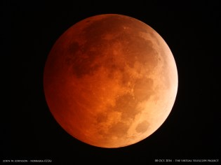 Credit: John W. Johnson via Virtual Telescope Project The moon passed through Earth's shadow on Oct. 8, 2014, marking a total lunar eclipse, the second of 2014, in a stunning blood moon.