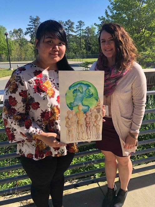 Jennifer Wah with her art teacher Candacie Schrader