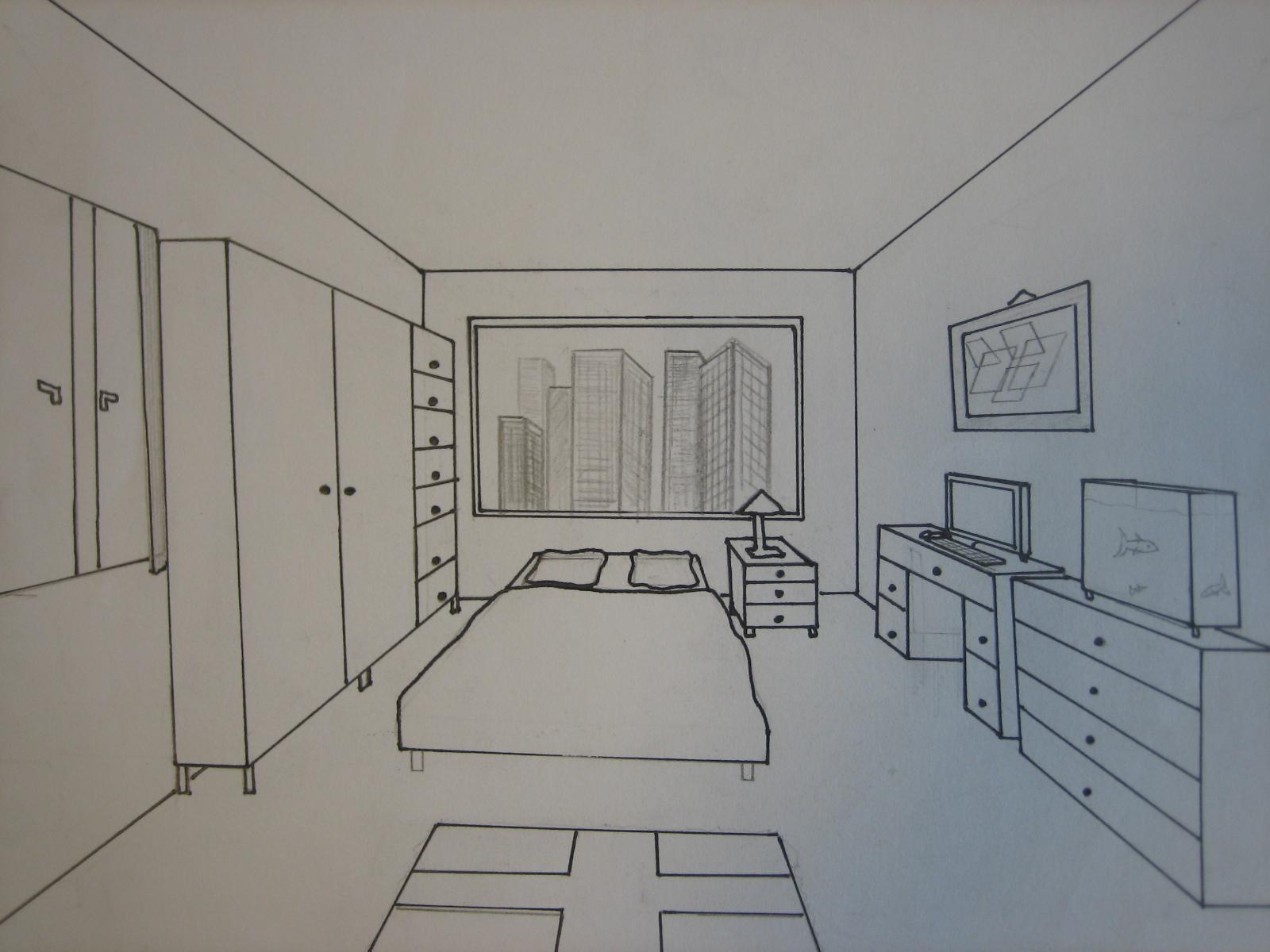 Chambre En Perspective Lineaire