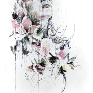 Carne Griffiths original art with tea brandy ink and prints for sale price on request