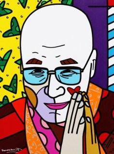 Range of Arts - Romero Britto - Original Portraits Paintings - Dalai Lama