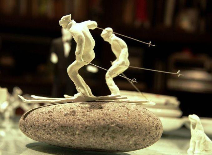 Range of Arts - Sculpture - Kazuhiko Tanaka - Skiers