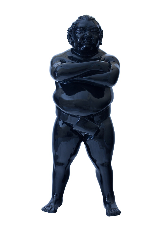 Resin large sumo sculpture for outdoors by Alexandra Gestin for sale price on request