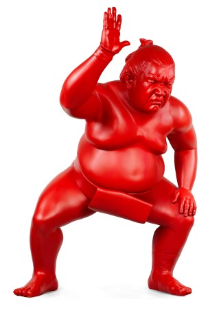 Resin red sumo sculpture for outside by artist Alexandra Gestin for sale price on request
