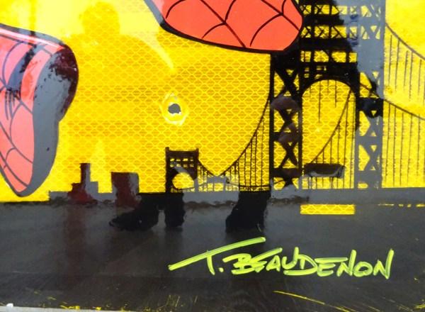 thierry beaudenon comics spiderman christmas roadsign unique artwork acrylic handpainted