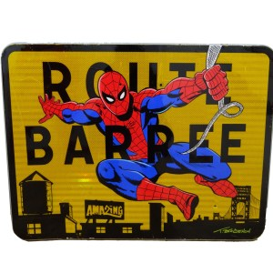 thierry beaudenon comics spiderman christmas roadsign unique artwork acrylic handpainted