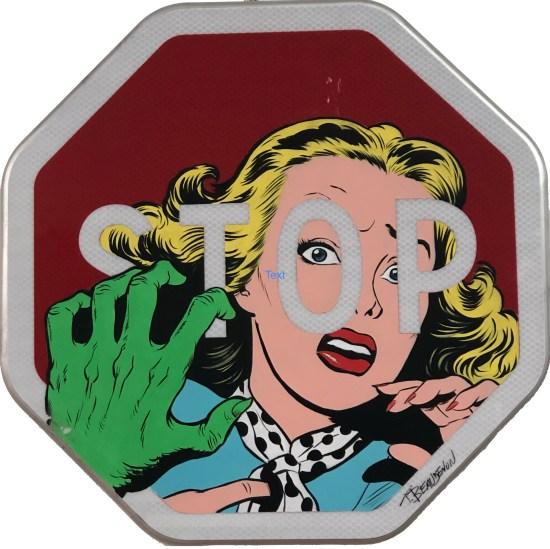 thierry beaudenon comic art deadpool acrylic hero roadsign street art