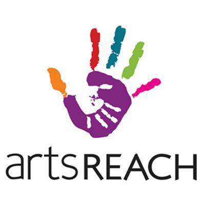 artsREACH logo: colourful art hand