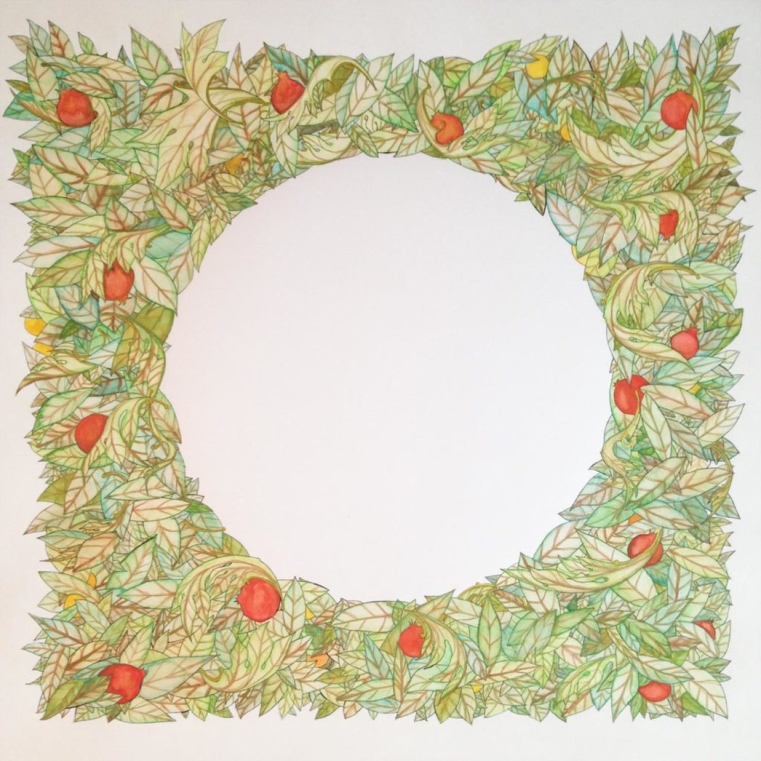 A wreath of acanthus and bay leaves, pomegranates, and lemons, create a fruitful harvest frame for wedding vows...