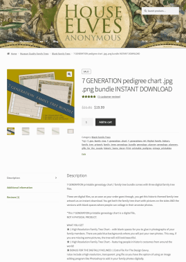 Genealogy Website Printables shop template- top of single product page