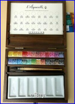 Sennelier Watercolor : sennelier, watercolor, Supply, SENNELIER, Watercolor, Luxury, Walnut, Raphael, Brush, Porcelain, Palette