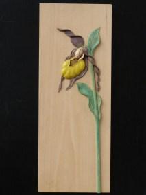 Sabot de Vénus en tilleul H 45 cm, épais de sculp 10 mm, peint acrilique , Prix 195 € (2)