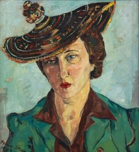 Irma Stern, Portrait of Freda Feldman in Basotho Hat, Accompanied by the Basuto hat worn by the sitter, Sold R5 115 600