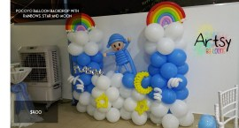Pocoyo themed balloon backdrop
