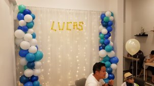 Organic balloon backdrop with cloth backdrop and LED lights