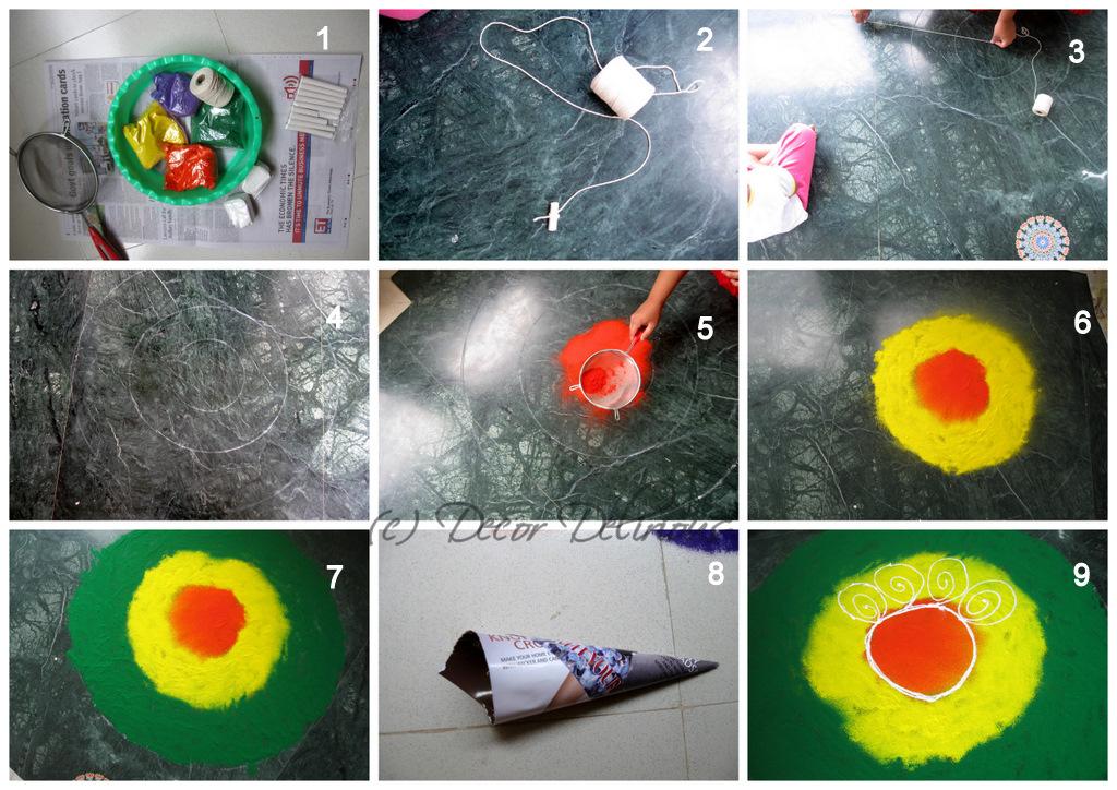 Easy rangoli step by step