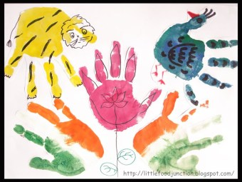 National symbols of India - hand print art