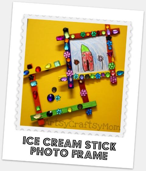 Ice cream stick magnetic photo frame - Artsy Craftsy Mom