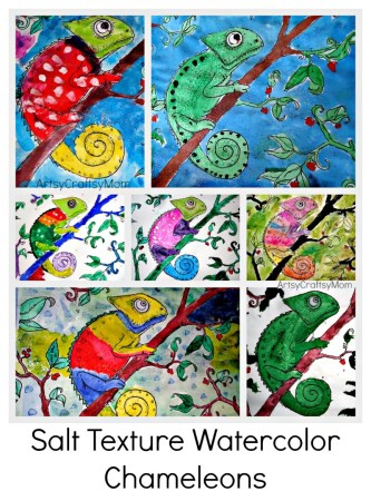 Salt Texture Watercolor art - Mixed up Chameleons