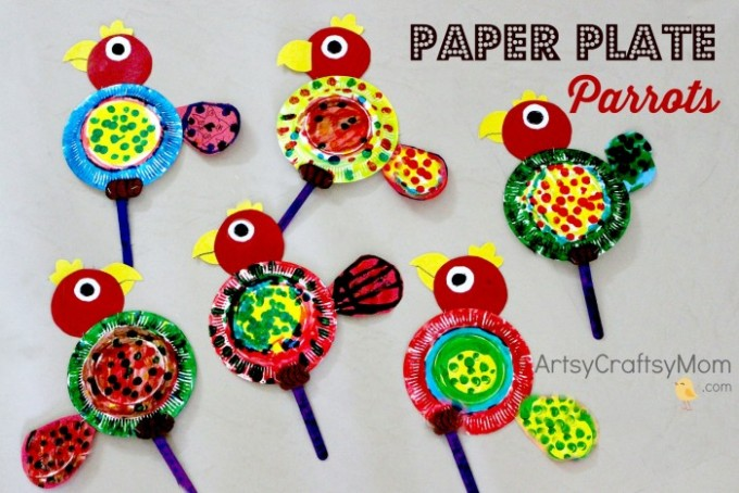 This Paper Plate Parrot Craft is the perfect project for a rainforest or bird unit at home or at school for Preschoolers.Dot Marker Art for kids