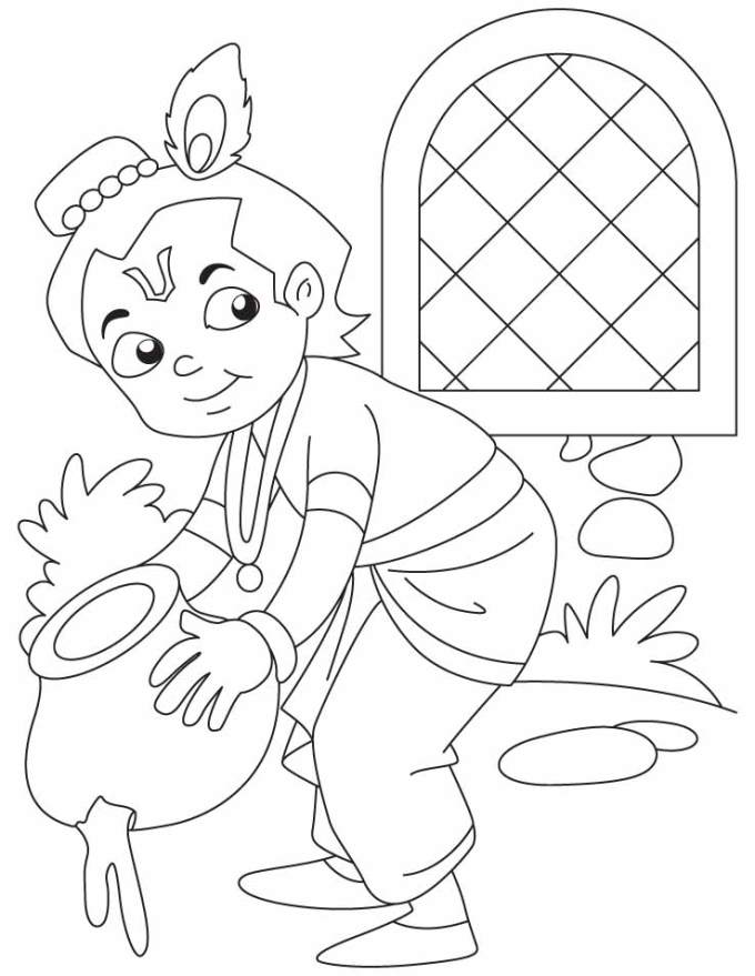 18 creative activities to do on krishna janmashtami with kids for Coloring pages of krishna