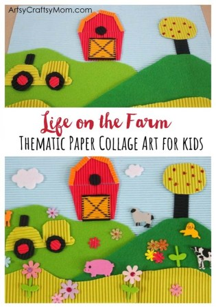 Life on the Farm Paper Collage Art for kids. Assemble a barn, hills & animals from layers of cut paper to create a whimsical 3D farm themed collage craft