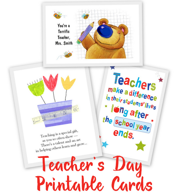 Printable-Teacher-appreciation-cards From our post 20 Last Minute Handmade Teacher's Day Card ideas at ArtsyCraftsyMom.com - Free, printable and personalized thank-you cards that kids can make and Teachers will love! Perfect for National Teacher Appreciation Week and or end of school Teacher appreciation tags.