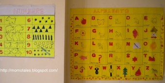 Block printed ABC & number charts