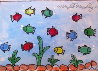 Finger painting - Aquarium - thumbprint art - rainbow fish