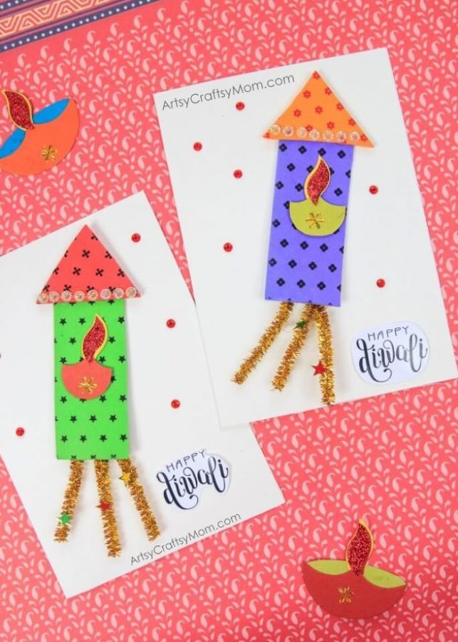 The ultimate list of 15 diy diwali card ideas for kids to make firecracker themed diwali greeting card for kids m4hsunfo
