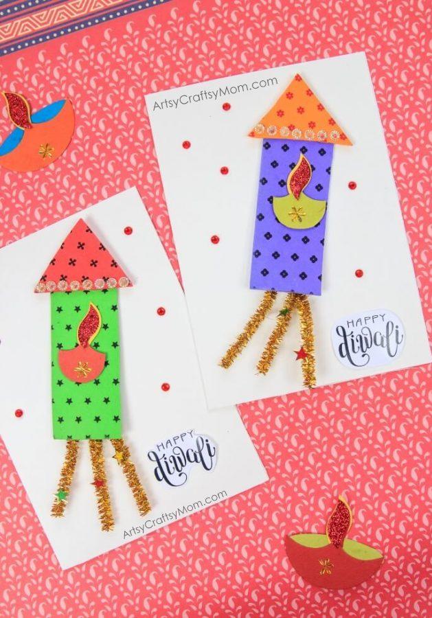 Holi Card Making Ideas Part - 35: Firecracker Themed Diwali Greeting Card For Kids