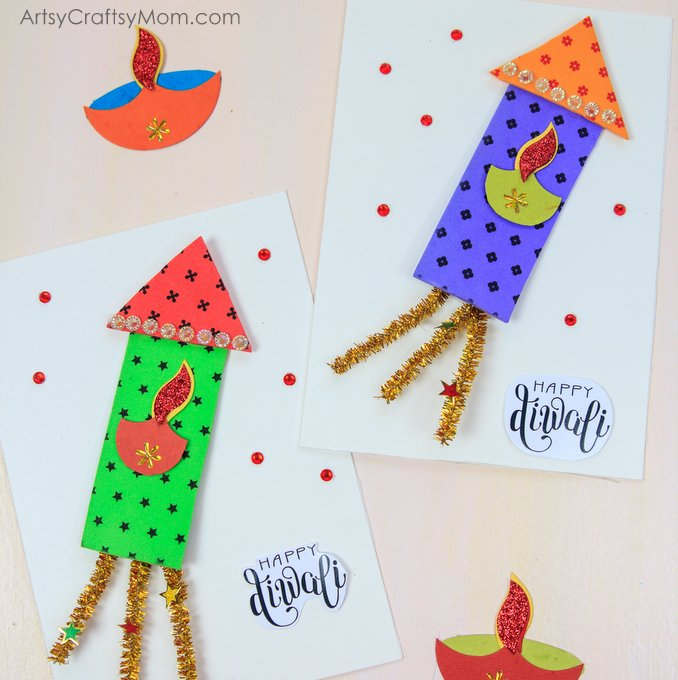 Here's a Fun Firecracker Themed Diwali Greeting Card for Kids to make for family & Friends! Using Foam sheets & Pipe Cleaners, this card will Wow everyone!
