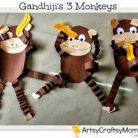 Gandhi Jayanti - Monkey craft with Free printable